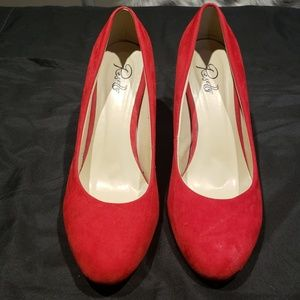 NWOT Red Pumps with Gold Glitter Heels